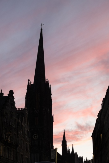 Beautiful sunset on the Royal Mile