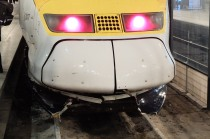Our battered Eurostar train post hit!